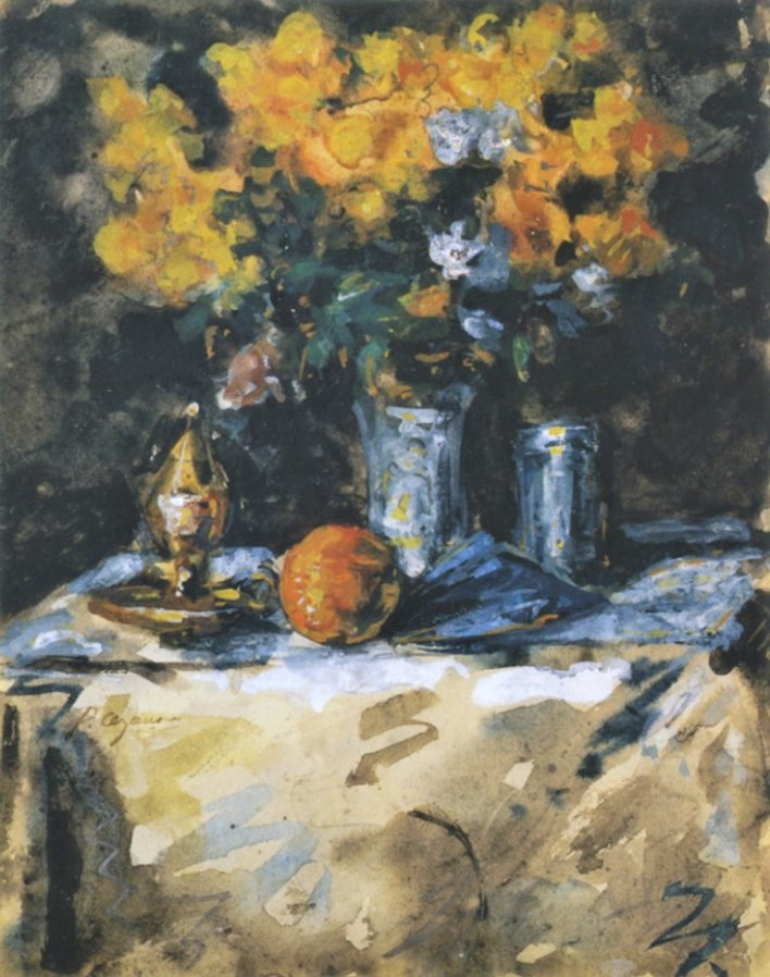 Paul Cézanne, 3IE-1877-32, Aquarelle, fleurs =1865-79, FWN1900, Flowers and fruit, wc, 18x14, private (iR194,no1900;R90II,p71+89;R2,p204)