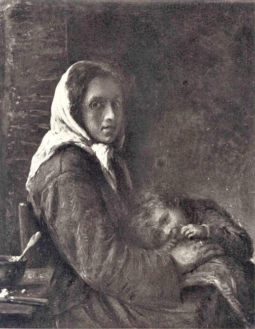 Adolphe-Félix Cals, 4IE-1879-39, Jeune femme avec son petit enfant. Maybe?: 18xx, xx (Mère et enfant), xx, xx (iR24;iR10;R2,p267;R90II,p108). Compare: 1871, Paysanne et enfant, 35x27, Rouart auction 1912 (R454,p68).