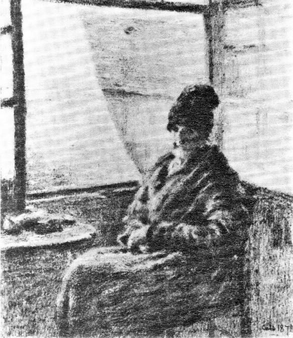 Adolphe-Félix Cals, 4IE-1879-45, La mère Doudoux, dessin =1878, La Mère Boudoux à sa fenêtre, dr, 21x18, xx (R90II,p126+108;R2,p267;R194,no62) Compare: 3IE-1877-13, La mère Doudoux.