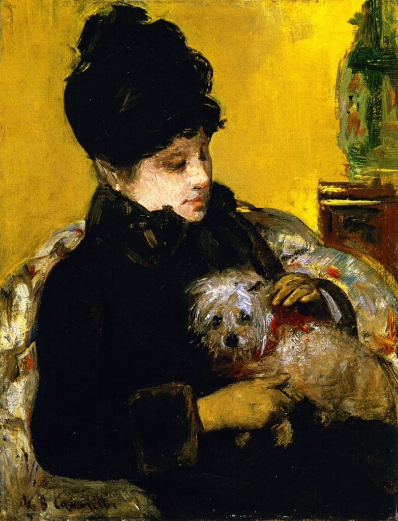 Mary Cassatt, 4IE-1879-51, Portrait de Mlle P... Maybe??: 1879ca, CR71, A visitor in hat and coat holding a Maltese dog, 35x27, private (iR92;iR2;R2,p267;R187,no71). Compare: 5IE-1880-17.