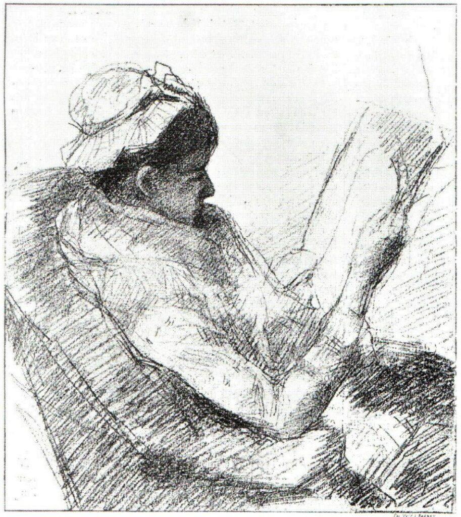 Mary Cassatt, 4IE-1879-52, Femme lisant. Compare: 1879, Jeune Femme lisant, dr, Les Beaux-Arts Illustrés, 1879,no84 (R90I,p254;R2,p267)