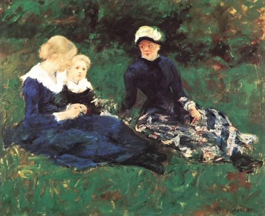 Mary Cassatt, 4IE-1879-56, Dans un jardin (couleur à la détrempe). Compare: 1880, CR93, On the meadow (no.2), 54x65, private (iR208;iR10;R187,no93;R2,p267)