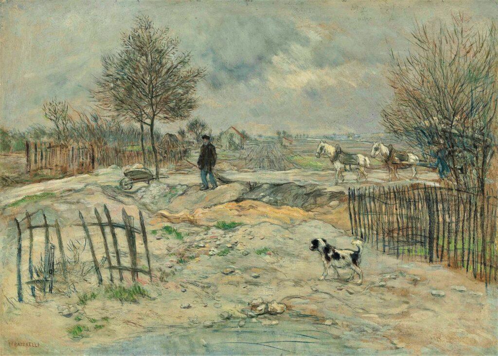 Jean-François Raffaëlli, 5IE-1880-146, Terrains remblayés de démolitions. Maybe?: 18xx, En Hiver, le cantonnier (The roadmender, winter), on panel, 52x72, A2014/12/09 (iR15;iR2,p313) Compare: 5IE-1880-172.