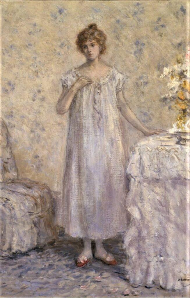 Jean-François Raffaëlli, 5IE-1880-149, Jeune femme pensive après la lecture d'une lettre. Maybe??: 1880ca, Woman in a White Dressing Gown (La Toilette), xx, Frick Pittsburgh (iR8;iR10;iR114;R2,p313;R90II,p154)