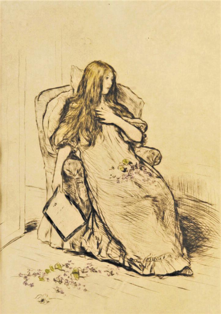 Jean-François Raffaëlli, 5IE-1880-149, Jeune femme pensive après la lecture d'une lettre. Compare: 1898, D47-4, La lettre (Young woman seated holding a letter), colour etch, 41x31, A2012/03/23 (iR10;R138XVI,no47;iR11;R2,p313;R90II,p171)