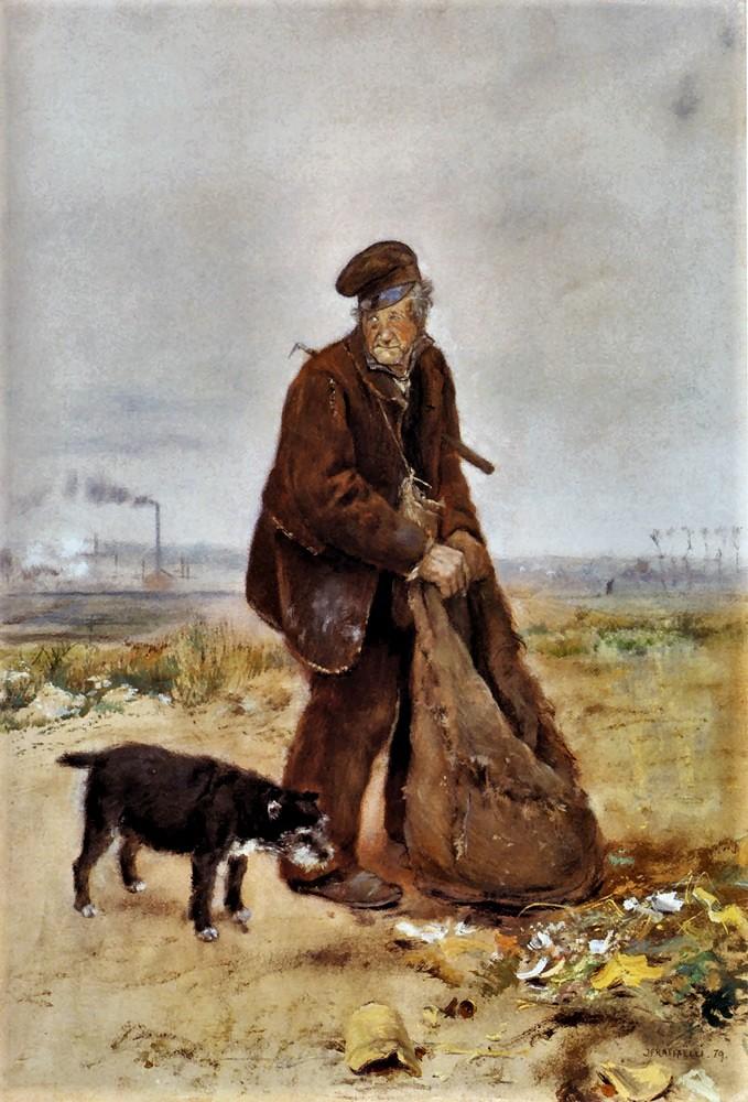 Jean-François Raffaëlli, 5IE-1880-152, Homme tenant un sac à charbon; aquarelle. Compare: 1879, le chiffonnier, ink+wc on panel, 82x60, A2001/11/01 (iR204;iR11;iR6;iR10;R2,p313;R90II,p154). Compare S1879-4444 and 5IE-1880-161.