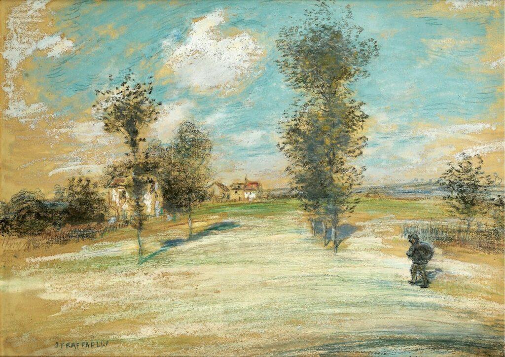 Jean-François Raffaëlli, 5IE-1880-153, Le mouvement, dans la route d'Argenteuil; pastel. Maybe??: 18xx, landscape with a peasant on the road, pastel, 42x58, A2007/06/19 (iR204;iR14;iR11;R2,p313)