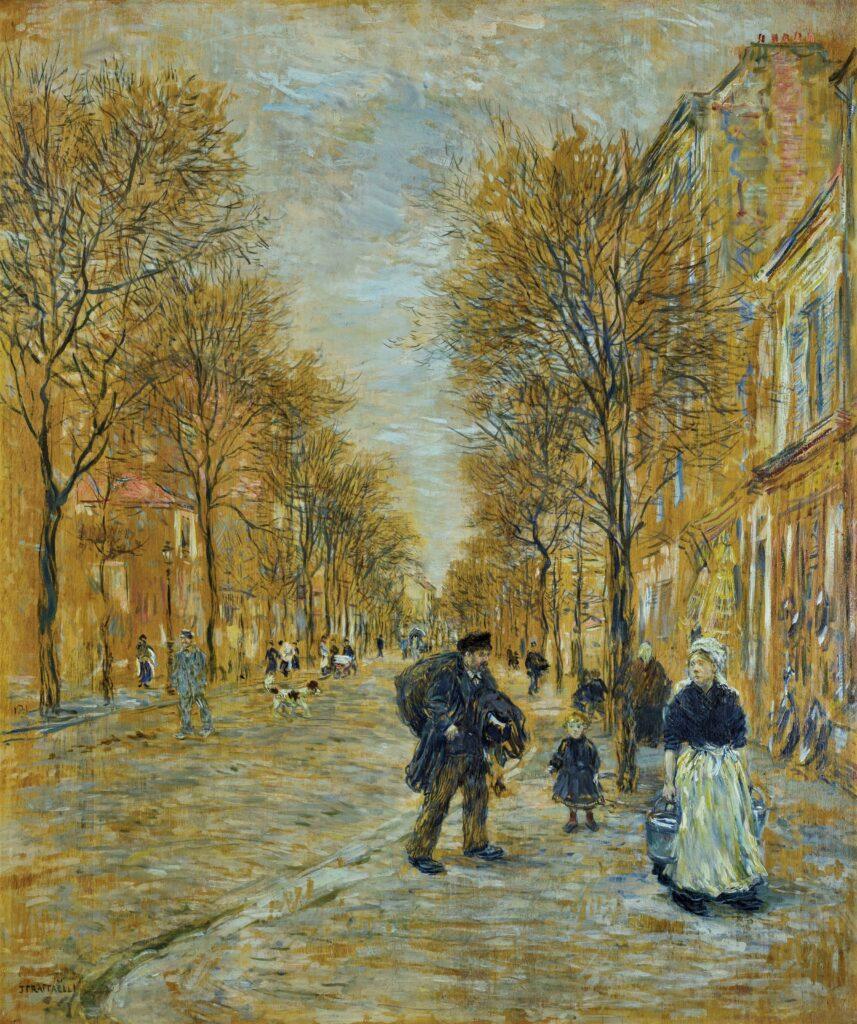 Jean-François Raffaëlli, 5IE-1880-153, Le mouvement, dans la route d'Argenteuil; pastel. Compare: 1880-90, a street in Asnières, on panel, 55x46, A2019/03/29 (iR15;R2,p313)