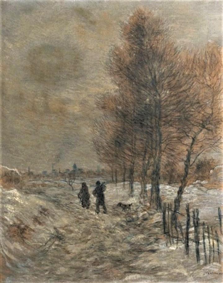 Jean-François Raffaëlli, 5IE-1880-154, La route, hors les murs des fortifications, par la neige. Compare: 1xxx, Snowy landscape, 80x64, A2016/06/15 (iR13;iR11;R2,p313;R90II,p155) Compare 5IE-1880-168.