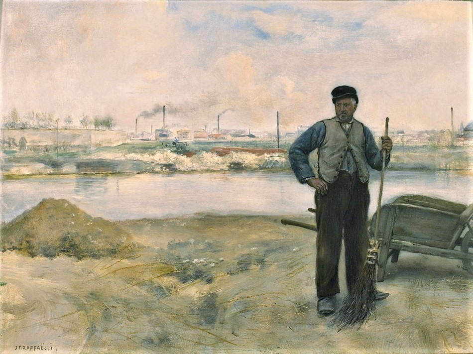 Jean-François Raffaëlli, 5IE-1880-156, Balayeur, paysage des environs de Nice. Maybe?: 1879ca, The sweeper, on panel, 26x35, Axx (iRx;iR10;iR13;R2,p313;R90II,p154)