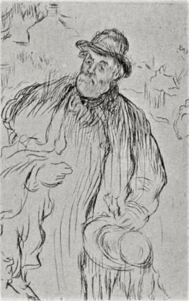 Jean-François Raffaëlli, 5IE-1880-157, Marchand d'habits sur la route d'Argenteuil (aquarelle et pastel). Compare:1895, D24, Le marchand des habits, etch, 14x9, xx (R138XVI,no24;R2,p313;R90II,p154). Compare: SNBA-1893-860 and se1884-9.