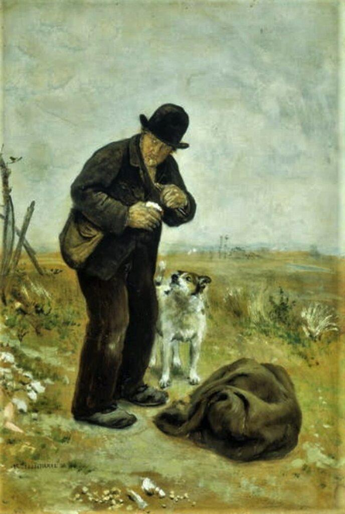 Jean-François Raffaëlli, 5IE-1880-161, Chiffonnier hors les murs; aquarelle. =1879, (The vagebond) On the road, 56x38, GM Beverly Hills (iR155;iR10;R90II,p172;R2,p313). Compare 6IE-1881-100.