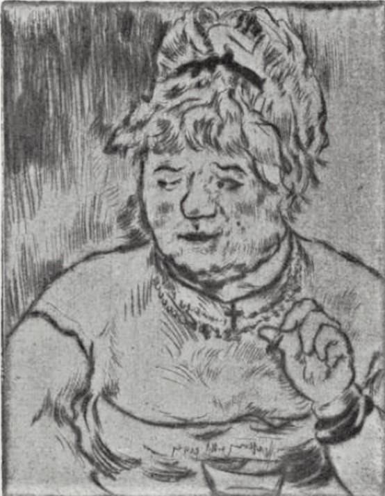 Jean-François Raffaëlli, 5IE-1880-164-1, Eaux-fortes et pointe sèche. Compare: 1882ca, D4, Tête de fille (Femme de Maison), etch, 15x11, Delteil (R138XVI,no4;R85XI,p58;aR7;R2,p313) Part of the painting: La forte chanteuse.