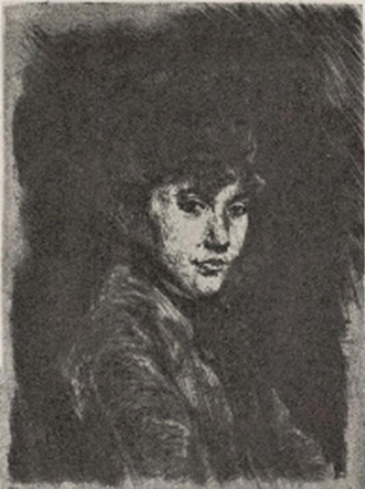 Jean-François Raffaëlli, 5IE-1880-164-3, Eaux-fortes et pointe sèche. Maybe??: 1876, D1-2, Mme J.F. Raffaëlli (tête de femme), 12x9, Delteil (R138XVI,no1;R85XI,p58)