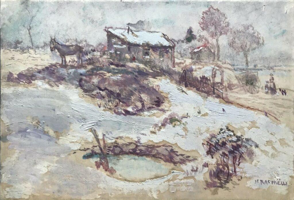 Jean-François Raffaëlli, 5IE-1880-165, Plaine couverte de neige (pastel). Compare: 18xx, Winter landscape, 25x35, private (iR10;iR116;R2,p313) Compare: Delteil 78, La cabane du chiffonnier (R138XVI,no78).