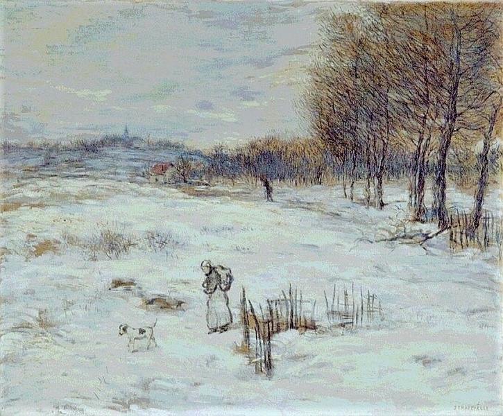 Jean-François Raffaëlli, 5IE-1880-165, Plaine couverte de neige (pastel). Compare: 1xxx, Snowy Landscape, oil on panel, 62x75, KMM Otterlo (iR2;Mx;R2,p313). Compare: 5IE-1880-154.