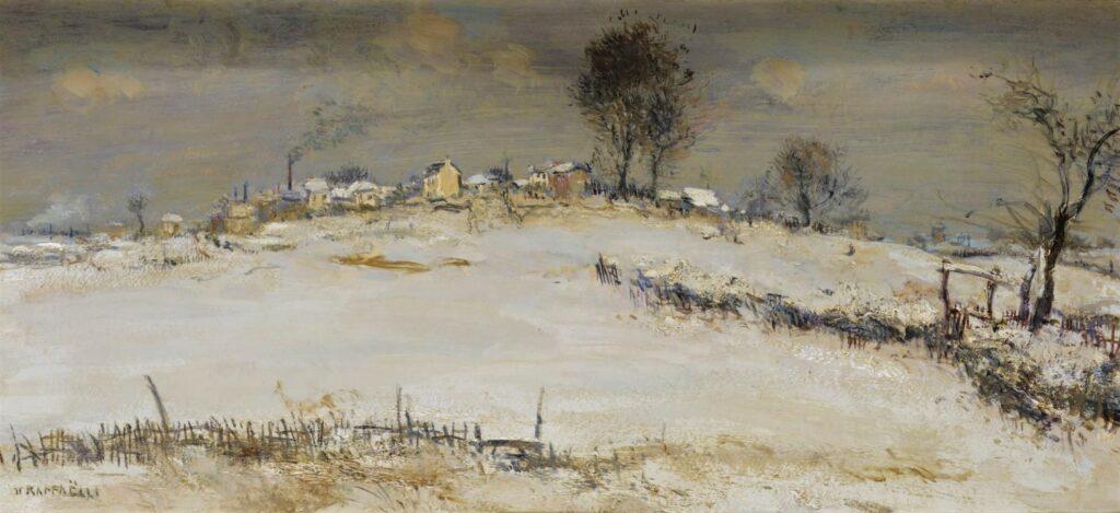 Jean-François Raffaëlli, 5IE-1880-165, Plaine couverte de neige (pastel). Compare: 1xxx, Village, surroundings of Paris, 22x47, A2008/10/28 (iR11;iR14;R2,p313)