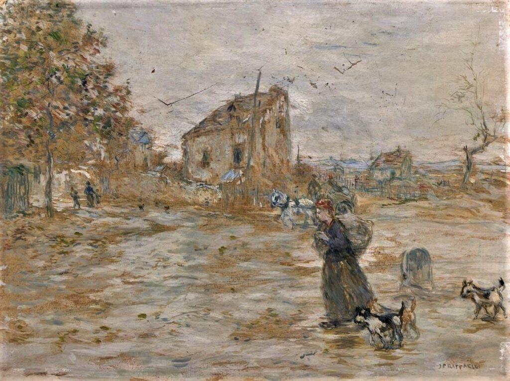 Jean-François Raffaëlli, 5IE-1880-168, Par de la brume et du vent; étude à l'aquarelle. Compare: 1xxx, Paysanne avec chiens près d'une maison (Banlieu de Paris), 30x40, A2011/06/21 (iR11;R2,p313)