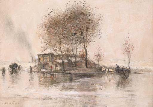Jean-François Raffaëlli, 5IE-1880-168, Par de la brume et du vent; étude à l'aquarelle. Compare: 1xxx, les environs de Paris, sous la neige, 33x46, A2000/04/06 (iR11;R2,p313)