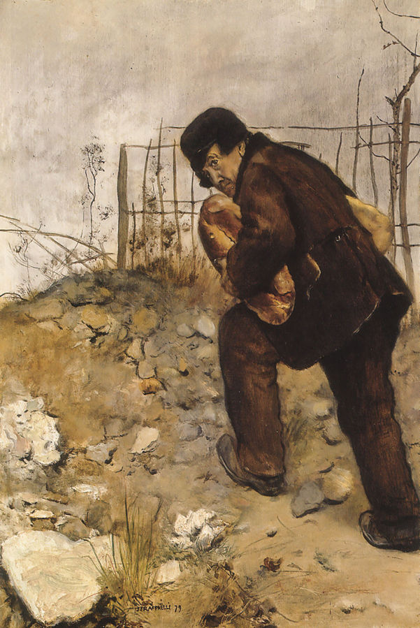 Jean-François Raffaëlli, 5IE-1880-170, Homme portant deux pains. Maybe: 1879, Man with two loaves of bread, 43x32, MBA Sint-Petersburgh (iR6;iR104;iR10;Mx) Compare se1884-17 (aR14,p8).