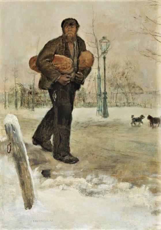 Jean-François Raffaëlli, 5IE-1880-170, Homme portant deux pains Probably: 1879, Man carrying bread, oil, 46x33, A2006/10/24 (iR11;R90II,p173;R2,p313). Compare: se1884-17 (aR14,p8).