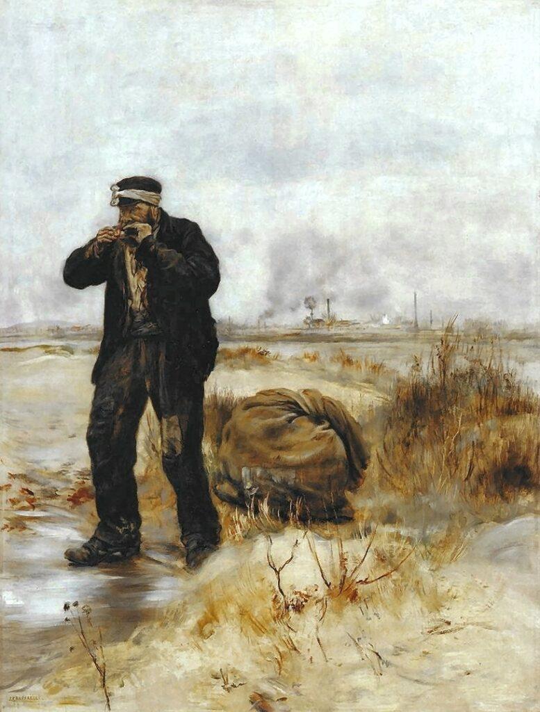 Jean-François Raffaëlli, 5IE-1880-172, Balayeur souffrant du froid. Compare: 1879 (or1884), A ragman lighting his pipe, 77x59, MBA Nantes (Orsay) (iR204;iR23;iR6;iR2;iR10;iR22;R2,p313;R90II,p155). Compare: 5IE-1880-179+hc1.