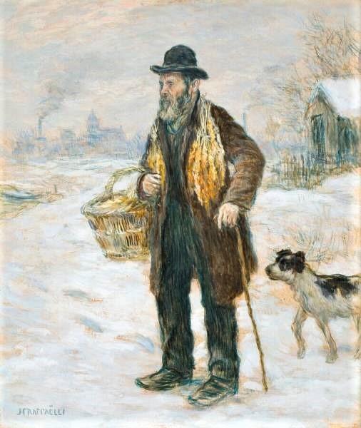 Jean-François Raffaëlli, 5IE-1880-172, Balayeur souffrant du froid. Compare: 1890ca, The Pedlar, 25x21, KMM Otterlo (iR10;Mx;iR2;R2,p313;R90II,p155)