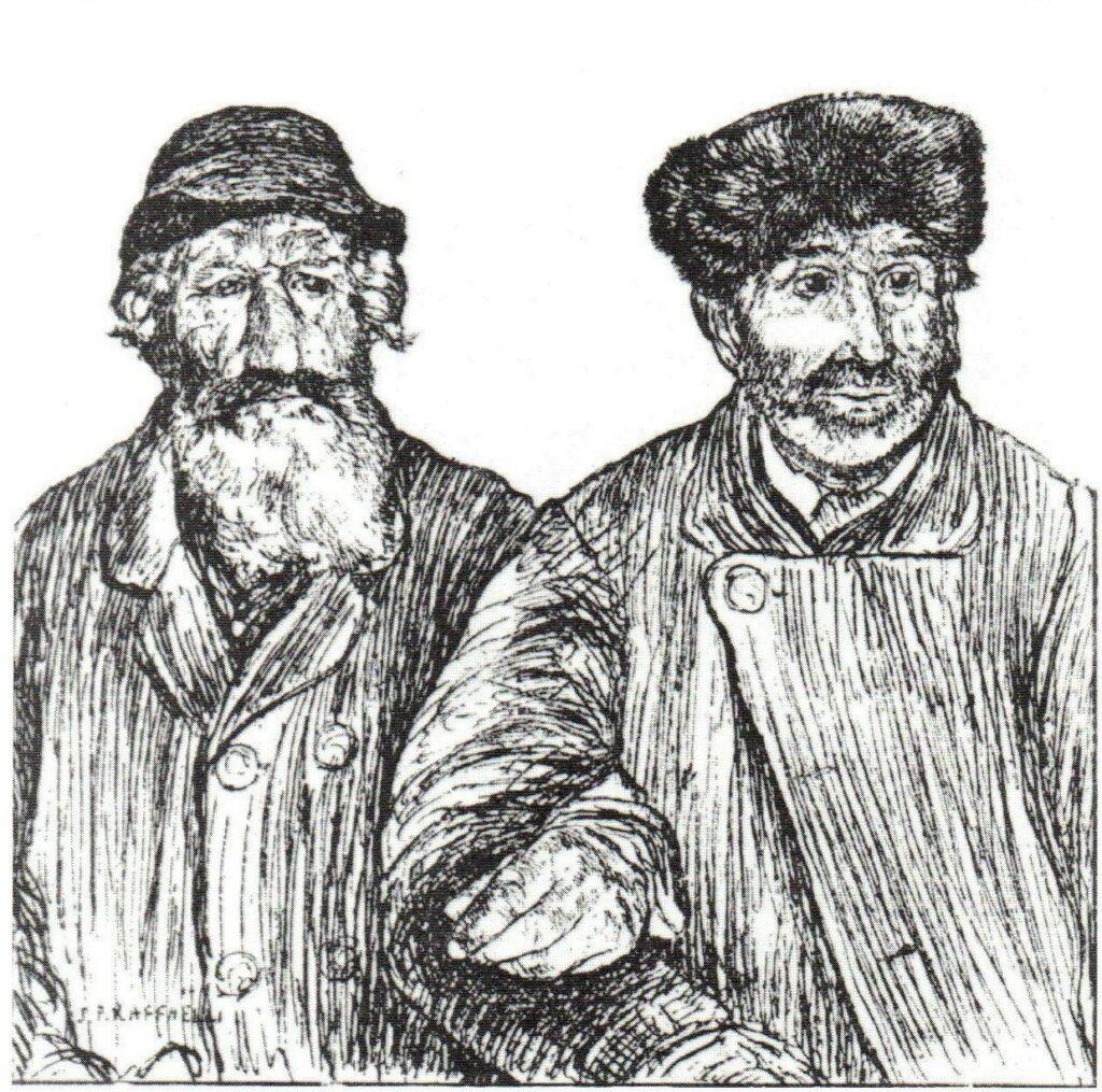 Jean-François Raffaëlli, 5IE-1880-144, Deux vieux. Compare: Deux Vieux (after Raffaëlli) Gazette des beaux-arts, 1880/05/01 (R90I,p321;R90II,p154;R2,p313)