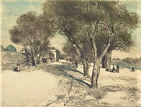 Jean-François Raffaëlli, 5IE-1880-176, Du soleil sur la grande route. Compare: 1912ca (or1905), D99-2, La route ensoleille, colour etch, 21x27, A2009/09/24 (iR11;iR40;aR10;R138XVI,no99;R2,p313;R90II,p156)