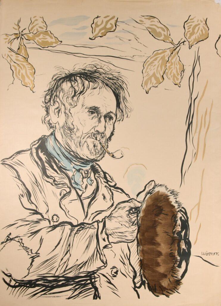 Jean-François Raffaëlli, 5IE-1880-178, Portrait. Compare: 1xxx, D132, L'homme à la pipe, colour litho, 81x64, xx (iR204;R138,no132;aR7;R2,p313)