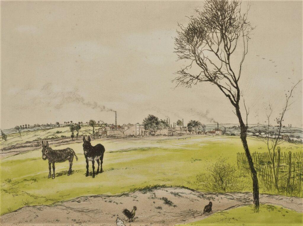Jean-François Raffaëlli, 5IE-1880-179, Anes et poules dans l'herbe; aquarelle. Compare: 1906, Les petits anes, colour etch, 45x56, A2016/06/22 (iR11;R138XVI,no69;R90II,p173;R2,p313)
