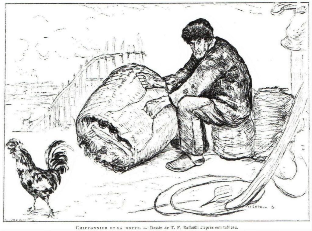 Jean-François Raffaëlli, 5IE-1880-179+hc3, Chiffonnier et sa hotte. Compare: 1880, Chiffonnier et sa hotte (after T.F. Raffaëlli), dr, xx, L'Art93 (R90I,p322) =se1884-13, ragpicker mending his basket (aR14,p8).
