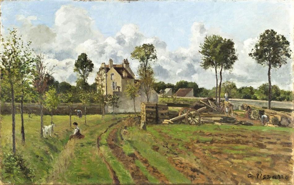 Pissarro, CCP133, 1869ca, Allée de la Tour-du-Jongleur and the house of M. Musy, Louveciennes, 52x81, Orsay (iR10;iR6;R116). Rouart collection (R45). cp CCP216.