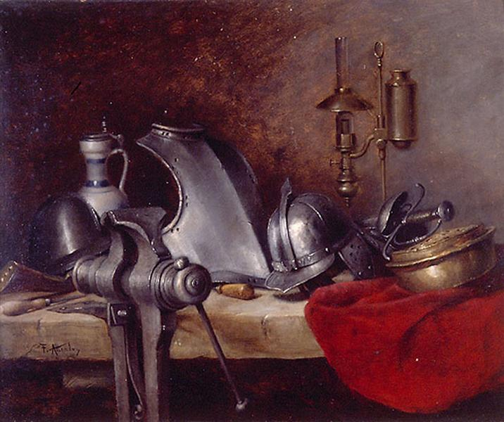 Antoine-Ferdinand Attendu, 1870-88, Still-life with armour, 37x47, MBA Rennes (iR23;iR35;iR1). =AAG-1888/02/21-20, Collection of Armor (aR14). Maybe: SdAF-1885-77, Les armures.