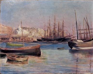 Frédéric-Samuel Cordey, 1881, Djamaa el Djedid, Alger (Bateaux dans le port; boats in the harbour), 46x61, A2016/07/23 (iR11;iR13)