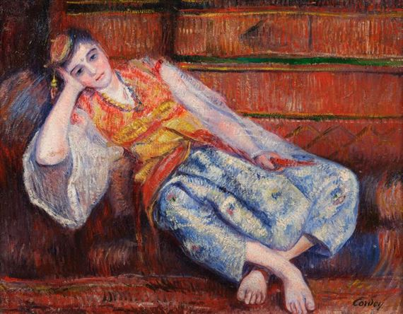 Frédéric-Samuel Cordey, 1881ca, Femme orientale au sofa (Odalisque dans un intérieur), 38x49, A20200721 (iR10;iR11;iR13;iR251;iR260)