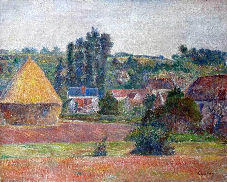 Frédéric-Samuel Cordey, 1890ca, Sortie de village (Village outskirts), 38x46, Axx (iR250;iR251)