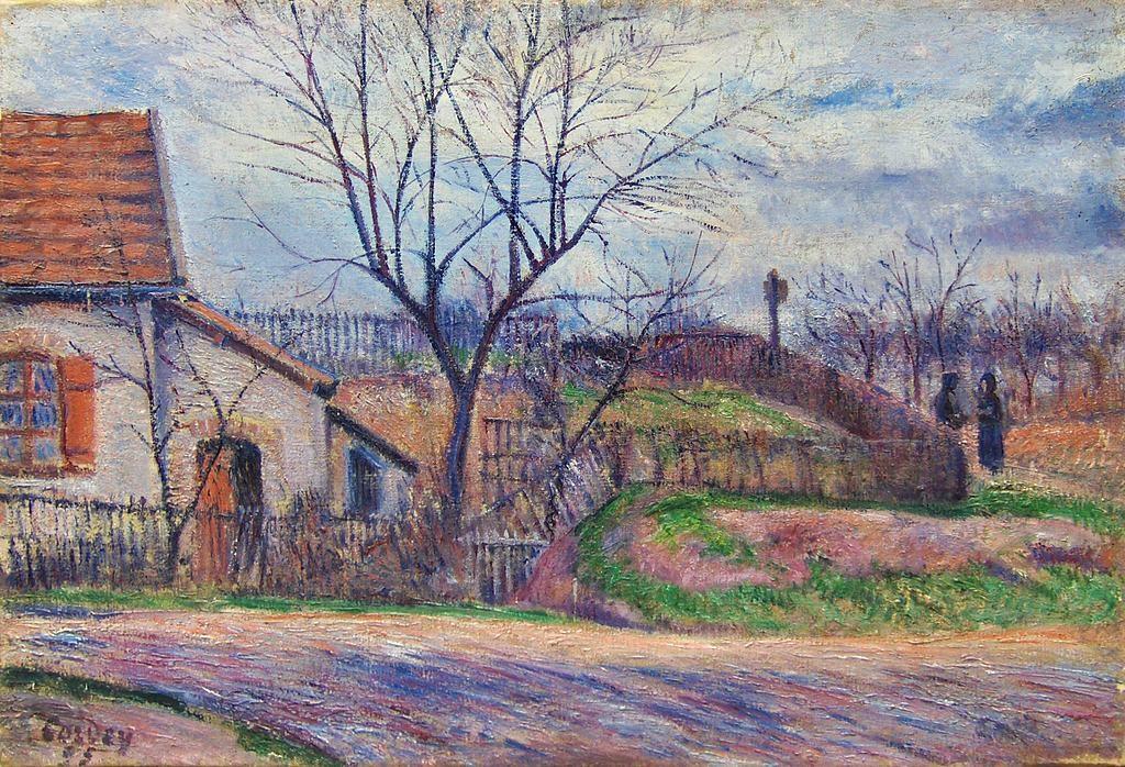 Frédéric-SamuelCordey, 1895 (1900), La Chaumière (conversation à l'entrée du village), xx, A2014/03/16 (iR3;iR13;iR47;iR10;iR64;iR22)