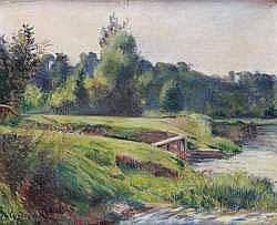 Frédéric-Samuel Cordey, 1896, Riverbank, xx, A2008/06/27 (iR17;iR13) cp1896, Bord de rivière, 50x61, A2007/06/27 (iR260)