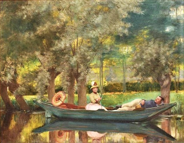 Franc Lamy, 18xx, Boating on a summer's afternoon (a romatic afternoon on the river), 25x32, A2015/10/24 (iR11;aR3)