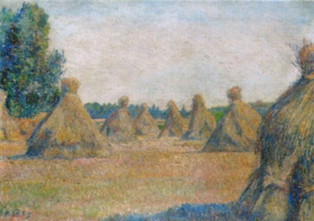 Frédéric-Samuel Cordey, 18xx, Moyettes au soleil à Eragny (Corn shell in the sun at Éragny), 43x61, A2003/12/13 (iR13;iR10)