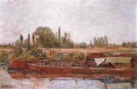 Frédéric-Samuel Cordey, 18xx, les péniches près d'Auvers-sur-Oise (barges near Auvers-sur-Oise), xx, A1993/07/04 (iR13) cp1900, Les Péniches, 38x55, A1992/04/18 (iR251)