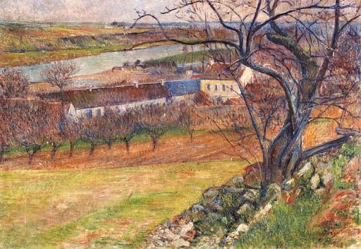 Frédéric-Samuel Cordey, 1900ca, Village par un ruisseau (Village along a stream), 38x52, private (iR4;iR15;iR22)