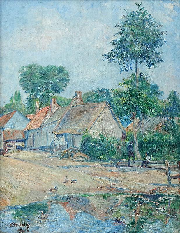 Frédéric-Samuel Cordey, 1901, Banks of the river, Auvers-sur-Oise (à l'ami Guillaumin), 60x46, private Germany (iR250;iR10;iR13;iR251)