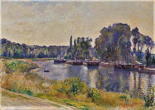 Frédéric-Samuel Cordey, 1904ca, Waiting on the Oise (le chômage sur l'Oise), 46x64, Leeds AG (iR2;iR10;iR64;iR22) SdA1904-298, Chômage de péniches sur l'Oise (iR77;iR1;iR19)
