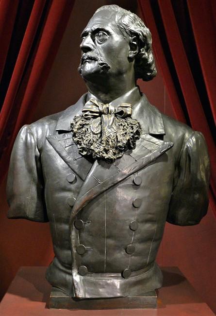 Zacharie Astruc, 1876, Jules Barbey d'Aurevilly, buste, 82x62x35, Musée Barbey d'Aurevilly in Saint-Sauver-le-Vicomte (iR10;iR94;iR23;iR1) =S1876-3051, Portrait de M. Barbey d'Aurevilly; buste, bronze.