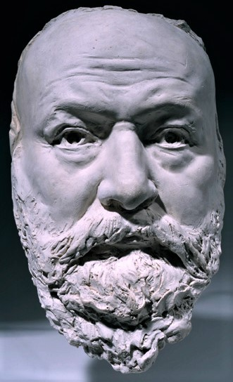 Zacharie Astruc, SdAF-1882-4069-12, Le marchand de masques; statue, plâtre = 1882ca, Mask of Victor Hugot, plaster, 25cm, MBA Angers (iR23;iR1)