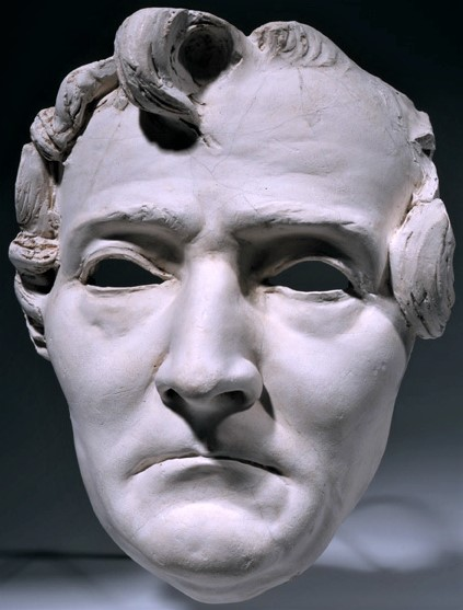 Zacharie Astruc, SdAF-1882-4069-4, Le marchand de masques; statue, plâtre = 1882ca, Mask of Hector Berlioz, plaster, 25cm, MBA Angers (iR23;iR1)