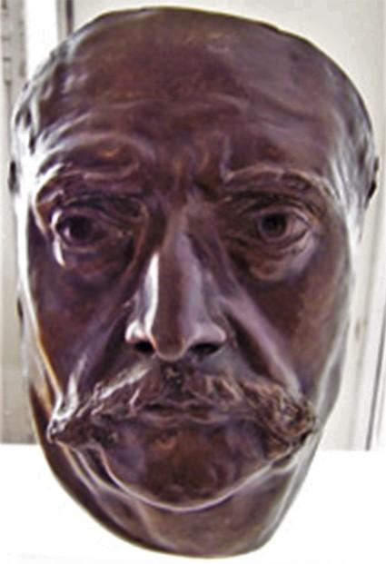 Zacharie Astruc, 1882ca, Mask of Barbey d'Aureville, bronzing plaster , 33cm, MBA Chambéry (iR10;iR23;iR6;aR18) Compare: S1870-4251, Portrait de M. Barbey d'Aurevilly; médaillon, plâtre.
