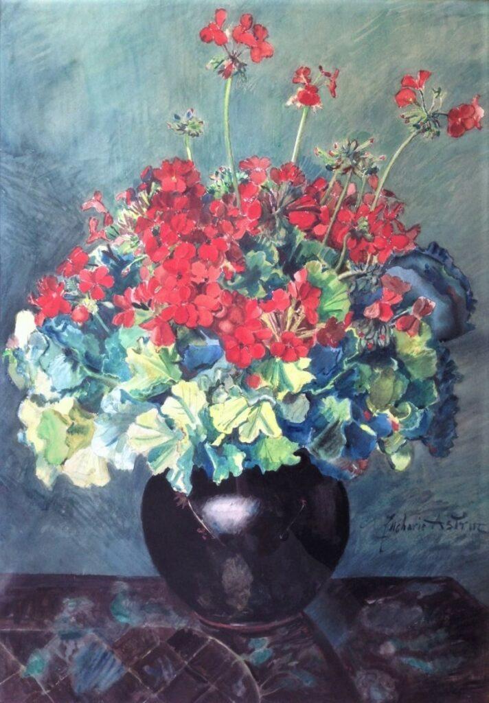 Zacharie Astruc, 18xx, Bouquet de géraniums, wc, 77x54, Axx (iR116;iR16)